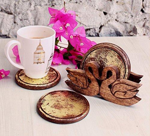 Geschnitzte Holz-akzente (Store Indya, Dekorative Rundholzuntersetzer Set von 4 und Hand geschnitzte Ente geformt Halter mit Gold-Foiled Walnuss-Finish)