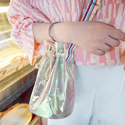 Milya Kleine Bucket Bag Umhängetasche PU-Leder Schultertasche Damen Clutch Leder Einfach Handtasche Einstellbar abziehbar Handbag Crossbody Multifunktionale Handtasche Silber