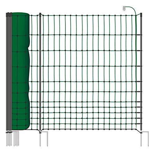 *50 m Hühnerzaun, Geflügelzaun, Geflügelnetz, Kleintiernetz, 112 cm, 20 Pfähle, 2 Spitzen, grün von VOSS.farming farmNET*