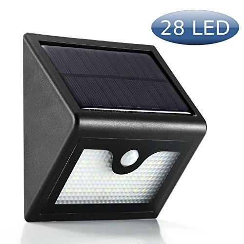 XYT - Faretto da esterno ad alimentazione solare, con 28 luci al LED, di sicurezza, con sensore, 3modalità, batteria da 2200mAh, confezione da 4, plastica, Black 1.20 wattsW