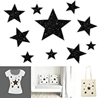 Pattern 10 Glitter Stars Different Size. Transfer Applique Iron on Patch Fusible Flex for Textile
