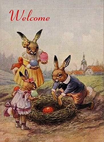 erhase kleine Garten-Flagge Kaninchen doppelseitig Vintage Welcome Zitat Jute Bauernhof Eier Haus Hofdekoration Lustige Bauernhof-Dekoration Outdoor Deko Flagge 12,5 x 18 Frühling ()