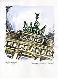 Original Feder und Aquarell auf Aquarellkarton: BERLIN Brandenburger Tor / 24x32 cm