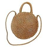 cheerfulus Bolso de playa tejido a mano redondo bolso de la playa Bolso retro de Crossbody bolso de...