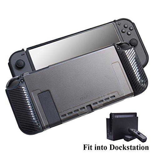 Case kompatibel für Nintendo Switch 3in1 Ultra Slim gedockt PC-Cover mit TPU Joycon Controller Grip Super Thin Fit im Dock von Hikfly (Schwarz) - Ultra-slim-link