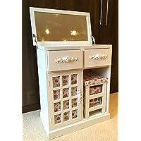 Preisvergleich für Weiß Schminktisch Make-up Schreibtisch Floral Schlafzimmer mit Spiegel und Hocker
