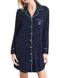 0819d1878cca3d NORA TWIPS Damen Viskose Nachthemd Knopfleiste Sleepshirt Alle Jahreszeiten