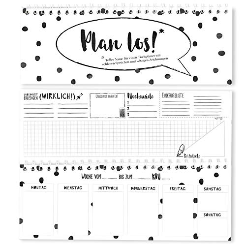 hen - Tischkalender/Tischplaner - Organizer 2019 Plan los! Wochenkalender ohne festes Datum im Querformat 10,5 x 29,7 cm schwarz-weiß (Schwarz-Weiß, 10,5 x 29,7 cm) ()
