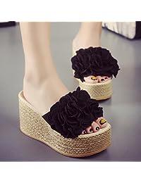 WHH Pantoufles d'été pour femmes / Chaussures confortables décontractées / Talon compensé / Basse épaisse / plateforme étanche / talon haut / Fleur / sandales / chaussures de plage sexy
