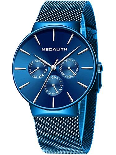 Herren Uhr Männer Wasserdicht Sport Edelstahl Mesh Schwarz Dünne Armbanduhren Klassische Elegant Datum Kalender Analog Quarz Kleid Blau Herrenuhr (Wasserdichte Sportliche Uhr)