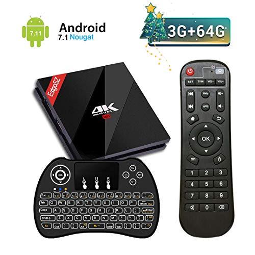 EstgoSZ Android TV Box Amlogic S912 Octa Core Android 7.1 4K 3GB DDR3 RAM 64GB ROM 2018 Smart TV Box Unterstützung 2.4G/5G Dual WiFi 1000M LAN Bluetooth 4.1 H.265 mit Kabellose Backlit Tastatur