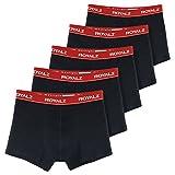 ROYALZ Bóxers para Hombre Multipack (Pack de 5) Ropa Interior Calzoncillos Underwear, Ropa Interior Tamaño:M, Color:Negro/Pretina Rojo