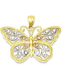 ICE CARATS 14k Yellow Gold Butterfly Pendant Charm Necklace Animal Fine Jewelry Gift Set For Women Heart
