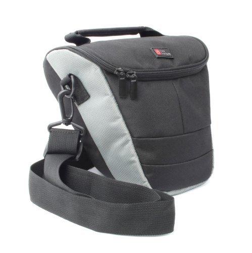 DURAGADGET Kameratasche mit Schultergurt für Panasonic Lumix Digital SLR Kamera - schwarz/grau