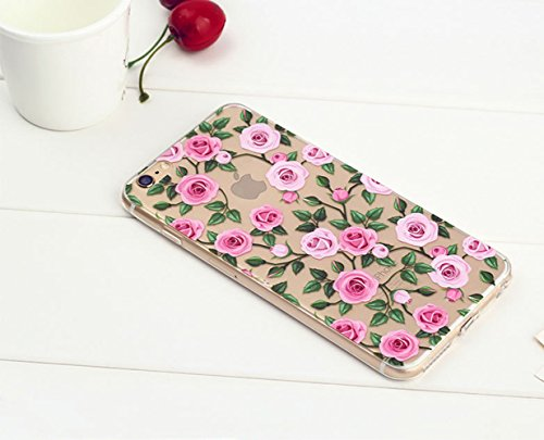 iPhone 7 Case (4.7), Bonice iPhone 7 Custodia,TPU Trasparente Ultra Slim Thin Morbido Crystal Clear Cover + 1x Protezione Schermo Screen – Rosa Model 8