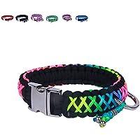 [Gesponsert]BelloBand Hundeleine Set aus Paracord / Führ-Leine mit Hundehalsband für große Hunde / Farbe: Regenbogen / 45cm ø