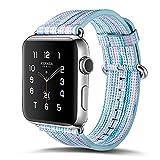 Xiaopangzi Multicolor Echtes Leder Farbige Muster Band für Apple Watch Armbänder 38 / 42mm Armband (K, 38mm)