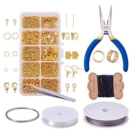 Pandahall Elite - Kits de Schmuckherstellung, Basteln Jump Rings Verschlüsse-Kralle Hummer Messing-Schrauben Auge Haken-Ohrringe Perlen Crimpzange aus Messing, Bronze Antik, goldfarben, 3~130mm -