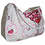 Beach Bag - Bolsa de playa para mujer de globos y corazones, color Rojo/Rosa (33 x52 x21 cm)