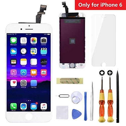 en Digitizer Glas Ersatz Assembly mit Hochwertigen Repair Tool Kit + Anleitung + Gehärtetem Glas Displayschutzfolie für iPhone 6 4,7 Zoll Weiß ()