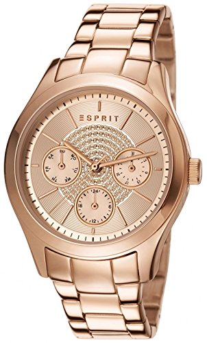 Esprit Julia Women's Quartz Watch with Rose Gold Dial Analogue Display and Rose Gold Stainless Steel Bracelet ES107802005