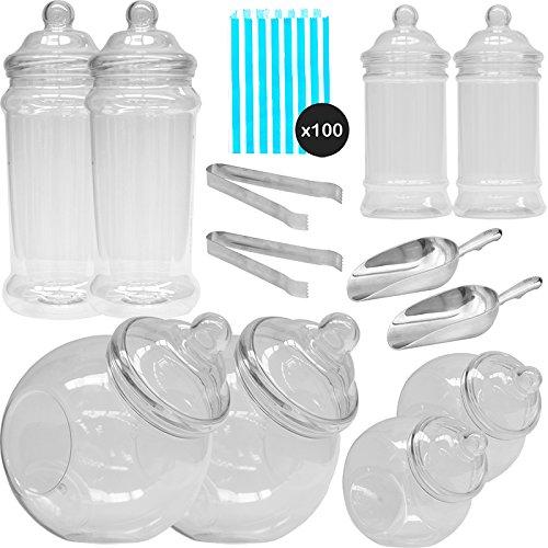 he Pick & Mix Polka Dot Süßigkeiten Buffet Kit - 8 Plastikbehälter & 100 Hellblau Beutel ()