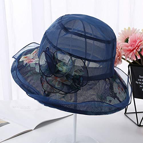 XUEGM-hat Frauen Organza breiter Krempe Floral atmungsaktiv Kirche Kleid Hut Bridal Tea Party Hochzeit Hut,Blue - Floral Damen Hut Charme