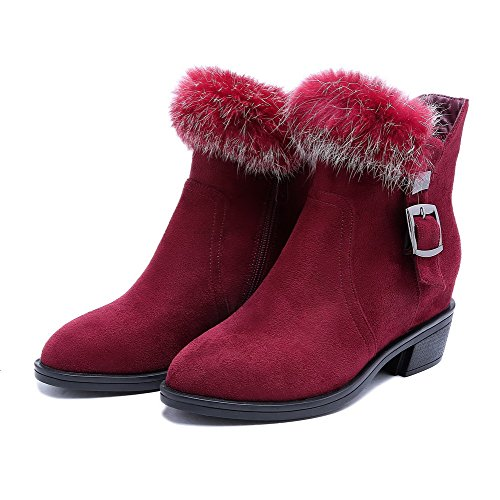 AgooLar Damen Blend-Materialien Schließen Zehe Stiefel Weinrot-Schnalle