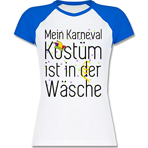 Shirtracer Karneval & Fasching - Mein Karneval Kostüm ist in der Wäsche - Zweifarbiges Baseballshirt/Raglan T-Shirt für Damen Weiß/Royalblau