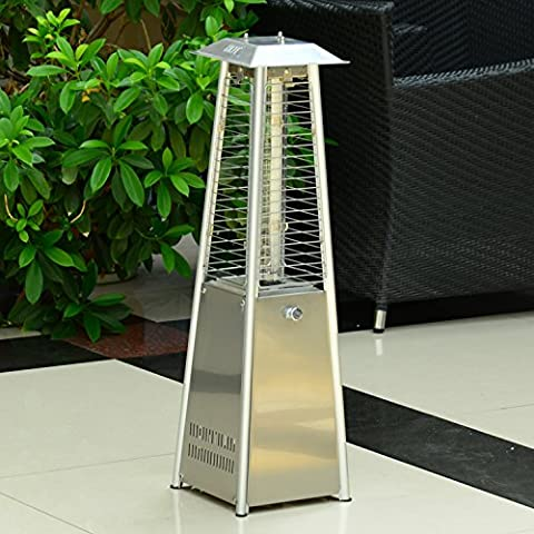 Outsunny 3KW Garden Table Top Propane Gas Heater Glass Tube Real Flame Duluxe Patio Warmer Outdoor Heating Stainless Steel w/ Rain Cover