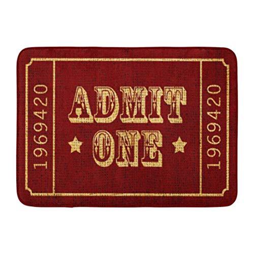 LIS HOME Badematte Red Americana Circus Theatre Ticket zugeben, EIN Vintage Badezimmer Dekor Teppich (Ein Ticket Zugeben,)