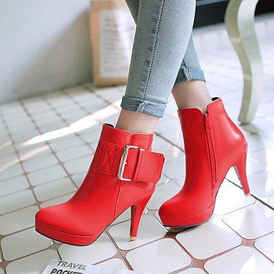 Botas saltos Salto Cinza De De Moda Mulheres Imitação botas Vermelha Ocasional Alto Planalto Couro outddor De Lfnlyx preta Da Escritório 4dUO1PUn