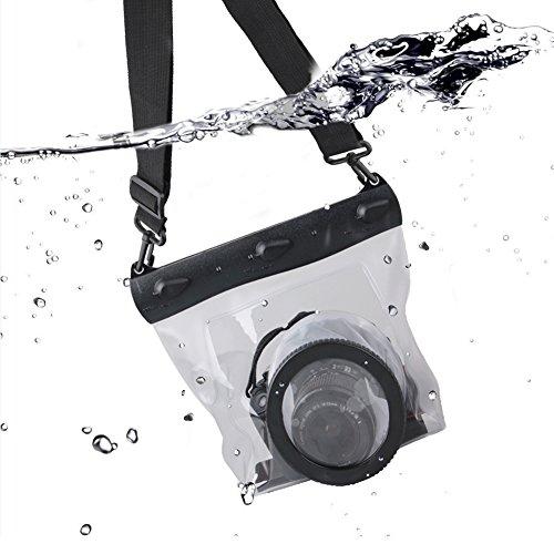 Meiwo 20m DSLR Unterwasser Universal Wasserdicht Gehäuse Hülle Wasserdichter Kameratasche Tasche Entworfen für Outdoor / Unterwasser Aktivitäten Kompatibel für Canon / Nikon / Fuji / Pentax / Samsung / SONY / Panasonic Und andere Marken(Transparent)