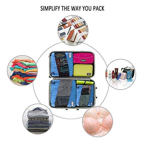 Kleidertaschen (3 Stück) - Kofferorganizer - Gepäck Veranstalter Beutel für Ihren im Urlaub oder Reise Blau