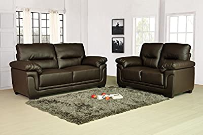 Kansas Brown Leather Sofa Suite 3+2 Seater Brand New 12 Months warranty FREE DELIVERY to ENGLAND & WALES ONLY