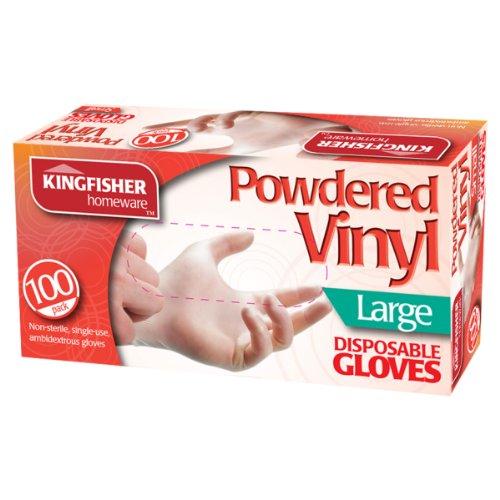 King Fisher gepudert Vinyl Einmalhandschuhe, groß, 100Stück