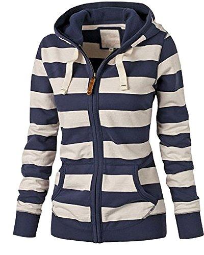 Minetom Damen Frühling Herbst Langarm Kapuzenpullover Casual Lose Gestreiften Tasche Kapuze Sweatshirts Oberbekleidung Jacke Mantel Coat...