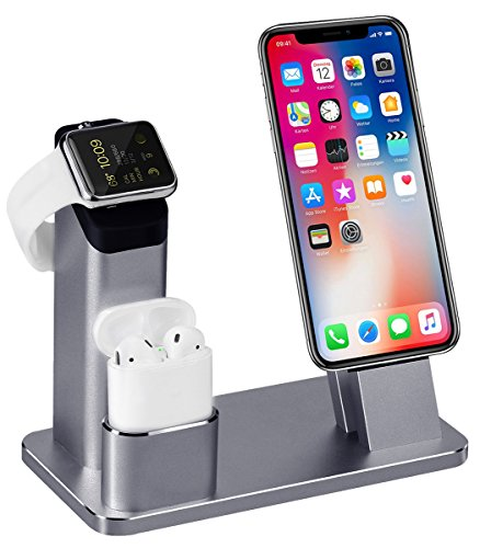 ompatibel mit Apple Watch Series 4/3/2/1, Aluminum Ständer für Apple Watch iPhone Airpods, Docking Station für iPhone XS/X/8/7/6S/Plus/ipad,Grau ()
