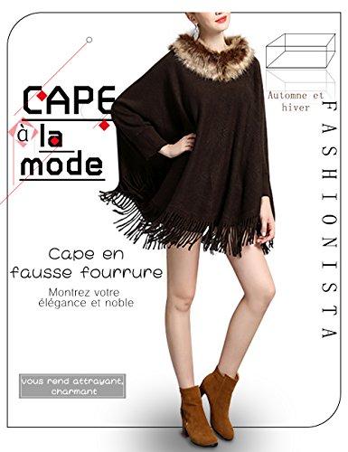 Femme Poncho Cape Fausse Fourrure avec Frange Élégant Manches Longues Veste Chic Top Casual Beunique Café
