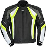 Cortech VRX Men's Textile Armored Motorcycle Jacket (Black/Hi-Viz/White, Large)