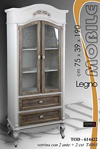 Mobile Credenza In Legno 75,5x39x190 Cm Design Shabby Chic