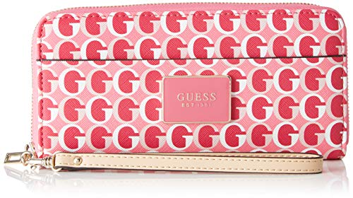 Guess Damen Kamryn Slg Large Zip Around Geldbörse, Mehrfarbig (Pink Multi) 21x10x2 centimeters
