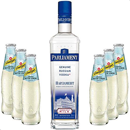 Vodka-Lemon-Set-Parliament-Vodka-70cl-40-Vol-6x-Schweppes-Bitter-Lemon-200ml
