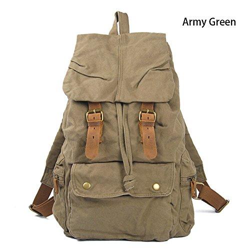 Boshiho appositamente ad alta densità, vintage tela canvas pelle zaino borsa a tracolla, zaino per la scuola, Army Green Army Green