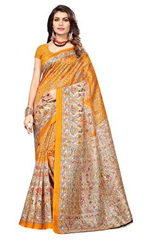 OOMPH! Art Silk Saree With Blouse Piece (rbks_festival074_yellow_Limestone Yellow_Free Size)