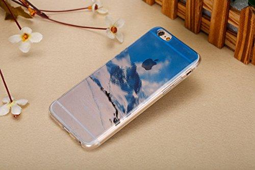 Felfy pour iPhone 6 Silicone Case,iPhone 6S Coque Coque Souple Transparente TPU Silicone en Gel Case Premium Ultra-Light Ultra-Mince Skin de Protection Pare-Chocs Anti-Choc Bumper pour Apple iPhone 6/ Snow Mountain