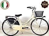 """SPEEDCROSS Super PROMOZIONE – Bicicletta 26″ da Donna """"Olanda"""" Senza Cambio con Cesto – Colore Beige"""