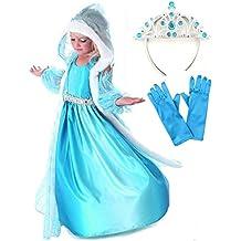 GenialES® Disfraz de Vestido Princesa con Capa Capuchada Mangas Azul Estampadas de Copos de Nieve para Niñas 3-8 años