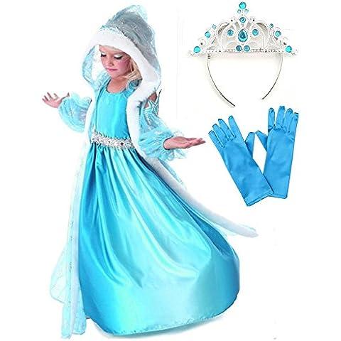 GenialES® Disfraz de Vestido Princesa con Capa Capuchada Mangas Azul Estampadas de Copos de Nieve para Niñas 3-8