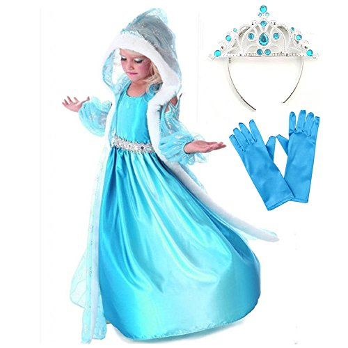 GenialES Disfraz de Vestido Princesa con Capa Capuchada Mangas Azul Estampadas de Copos de Nieve para Niñas 2-3 años